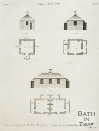 Cottages with one Room from A Series of Plans for Cottages for Labourers by John Wood the younger, 1781