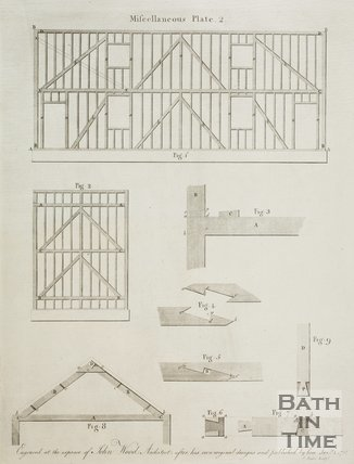 Timber plans from A Series of Plans for Cottages for Labourers by John Wood the younger, 1781