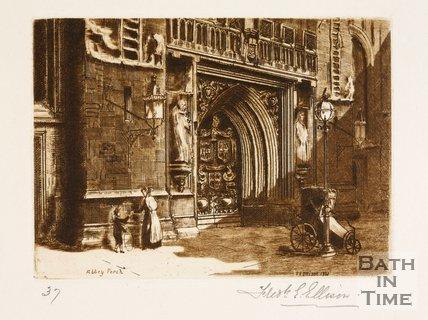 Etching of Bath Abbey West Door, 1886