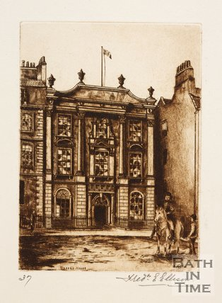 Etching of Nassau House, Orange Grove, Bath, 1886