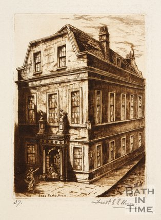 Etching of Beau Nash's house, Saw Close, Bath, 1886
