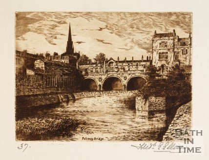 Etching of Pulteney Bridge, Bath, 1886