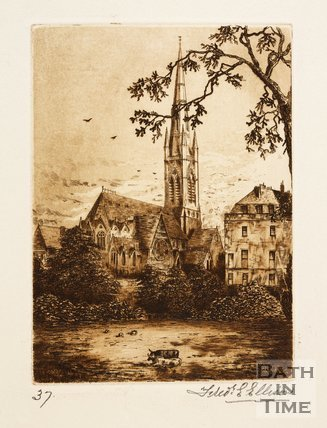 Etching of St John's church, Bath, 1887