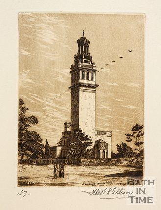 Etching of Lansdown (Beckford's) Tower, 1887