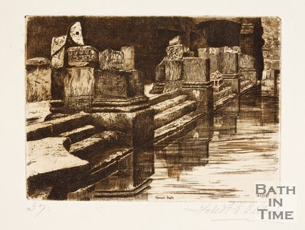 Etching of the Roman Great Bath, Bath, 1887