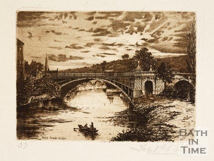 Etching of North Parade Bridge, Bath, 1886
