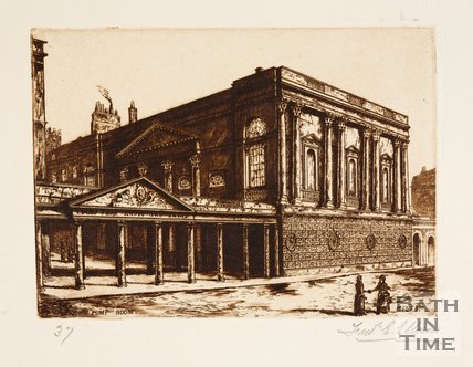 Etching of the Grand Pump Room, Bath, 1887