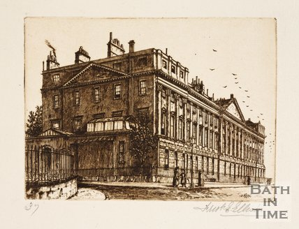 Etching of the north side of Queen Square, Bath, 1886