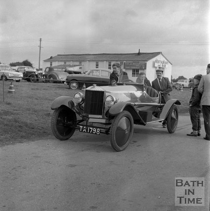 A Horstmann car at Castle Combe Race Circuit, c.1965?