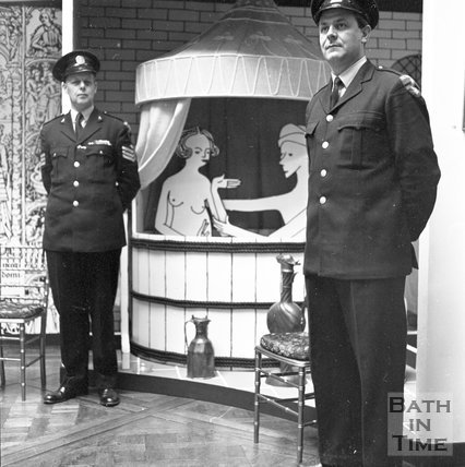 Two security guards at the Baths Exhibition, c.1960s