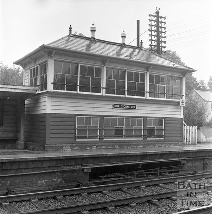 Box signal box, shown at the time of the station closure, 1965