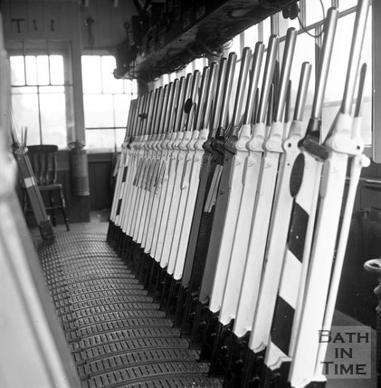 Inside Box signal box, shown at the time of the station closure, 1965