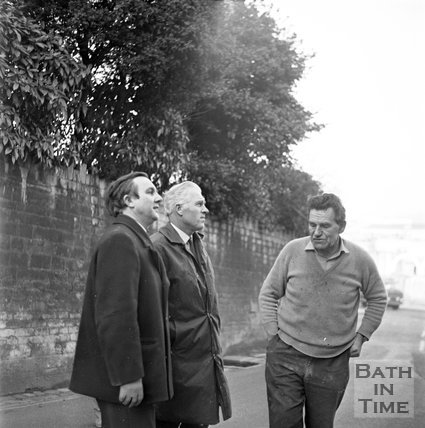 Council inspectors outside the entrance to the Southcot Baptist Burial Ground, Bath, Bath, c.1970