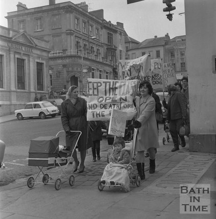 Protests over cinema demolition in Frome, c.1965