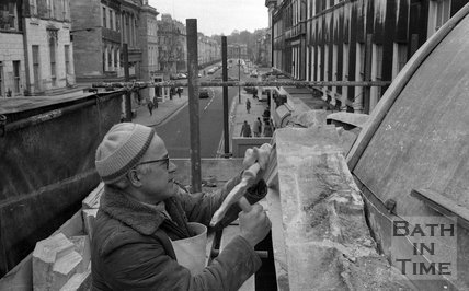 The restoration of Pulteney Bridge, Bath, 27 January 1976