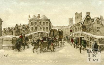 The Old Bridge, Bath, 1825