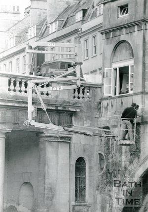 Inspecting Pulteney Bridge, Bath, 1985