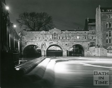 Floodlit Pulteney Bridge Weir, Bath, 1975/6