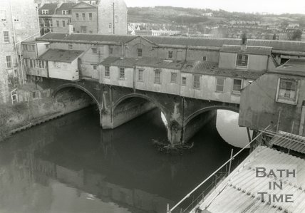 The rear of Pulteney Bridge, Bath, February 1989