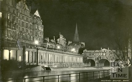 Pulteney Bridge and Colonnades under Grand Parade, Bath, c.1930s?