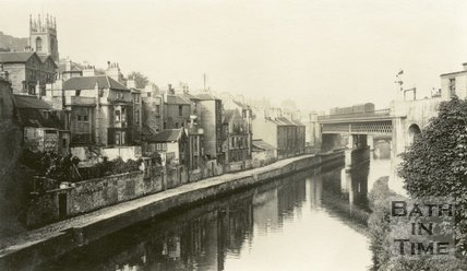 Skew Bridge, rear of Claverton Street and the River Avon, Bath, c.1915