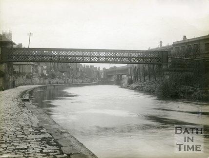 The Halfpenny Widcombe Bridge and rear of Claverton Street, Bath, c.1920s