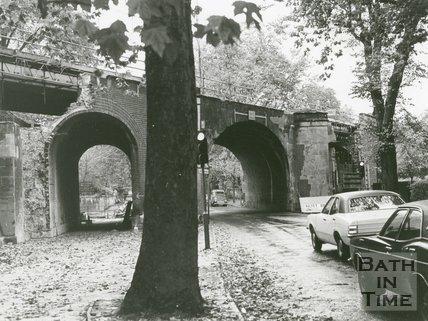 Pulteney Road Rail Bridge, Bath, under alteration, 1975
