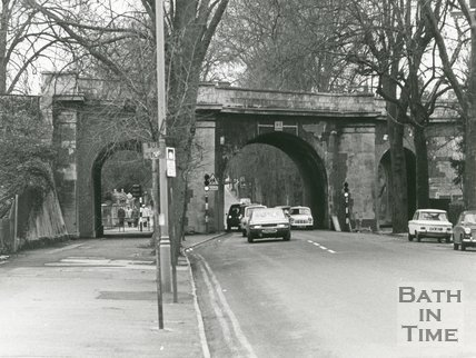 The old Railway Bridge, Pulteney Road, Bath, December 1973