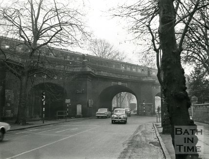 The old Rail Bridge in Pulteney Road, Bath, 1967
