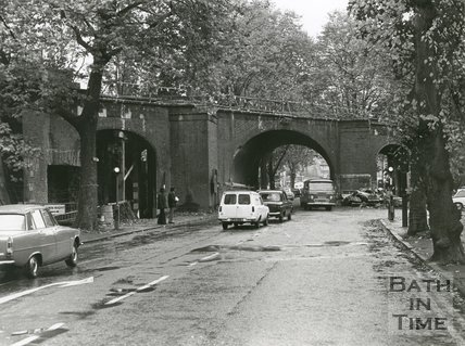 Pulteney Road Rail Bridge, Bath, under alteration, 1975