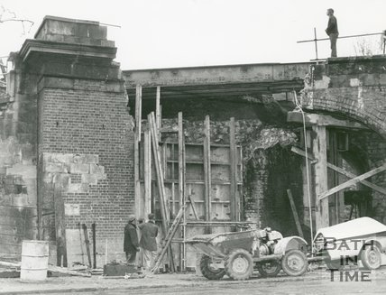 Railway Bridge in Pulteney Road, Bath, half demolished, 19 November 1974