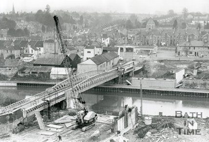 Windsor Bridge, the construction of the new Windsor bridge, Bath, 10 January 1980