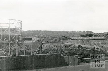 Windsor Bridge, Bath, during construction, 1980