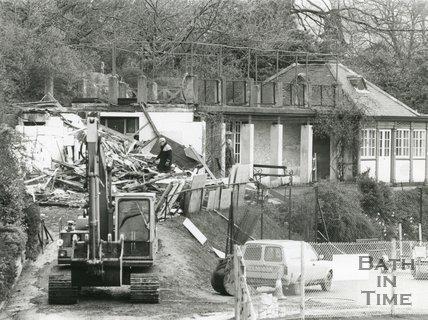Demolition of Bowls Pavilion, Royal Victoria Park, Bath, July 1992