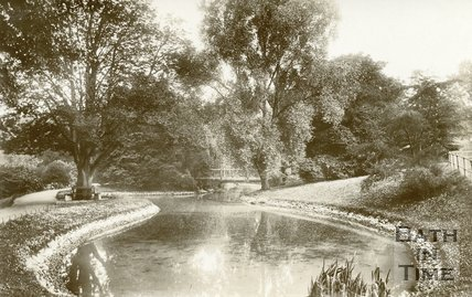 Royal Victoria Park, Bath, view of the lake, c.1909