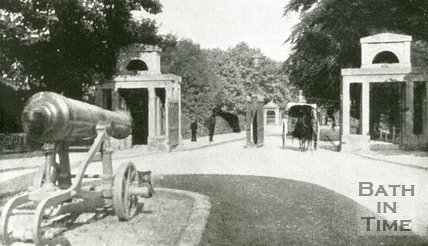 Cannons at the entrance to Royal Victoria Park, Bath, c.1900