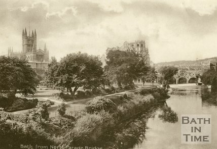 Parade Gardens, Bath, viewed from North Parade Bridge, c.1920s?