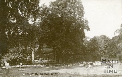 Sydney Gardens, Bath, view of lawn with bandstand c.1912