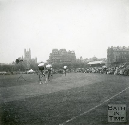 Penny Farthing Race at the Recreational Ground, Bath, c.1940