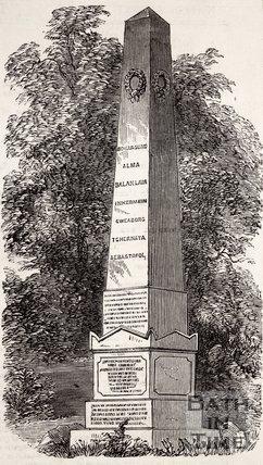 The Crimean Monument in the Abbey Cemetery, Bath, c.1856.