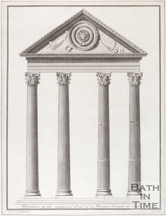 Elevation of the supposed front of a Roman Temple at Bath, 1792