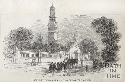 Walcot Cemetery and Beckford's Tower. 1860. Bath