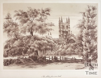 Bath Abbey from river bank, 1881