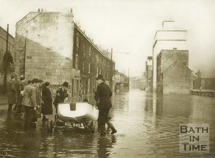 Floods on the Lower Bristol Road, Bath, December 1960