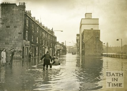 Floods on the Lower Bristol Road, Bath, December 1960
