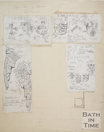 Pencil sketches of angels wings and heraldry in the vaults in the east end of the Choir at Bath Abbey, c.1873
