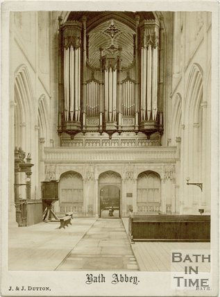 The organ, Bath Abbey as it stood under the tower, prior to repairs by Rev. Mr. Hamble, Bath c.1863