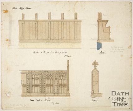 Designs for the pews at Bath Abbey, c.1865