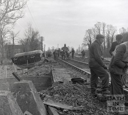 Derailment at Upton Lavell, Warminster, Wiltshire, c.1970