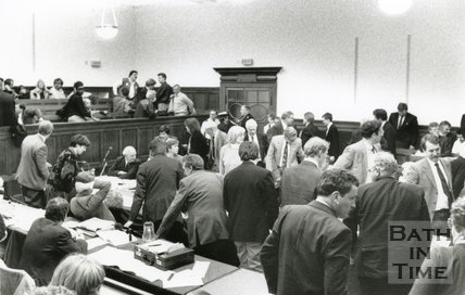 Scene in Council Chamber During Council Meeting to set the Bath Poll Tax on the Night of 13th March 1990